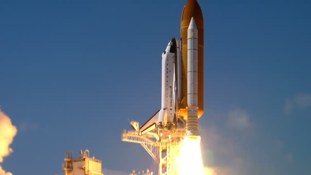 Space Shuttle Endeavour launches on mission STS99 to work on the Shuttle Radar Topography Mission project / Shuttle on launch pad CU rocket boosters...