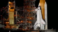 MS ZI Space Shuttle on launch pad at night / Cape Canaveral, Florida, USA