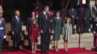 Spain's King Felipe opens a new session of parliament accompanied by his wife Queen Letizia and their two daughters Leonor and Sofia