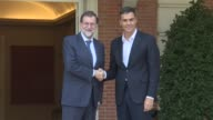Spanish conservative Prime Minister Mariano Rajoy holds talks with the head of the main opposition Socialist Party Pedro Sanchez to discuss...