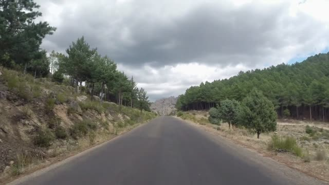 Spanish Mountain Road in Sierra de la Guadarrama just north of Madrid, Spain