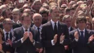 Spanish Prime Minister Mariano Rajoy joins mourners in Barcelona's Plaza de Catalunya for a minute of silence after after twin attacks in Spain...