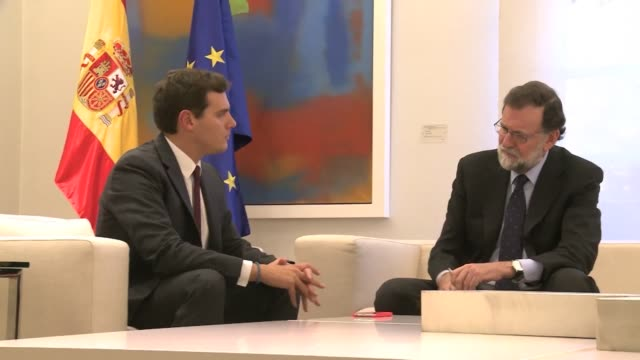 Spanish Prime Minister Mariano Rajoy meets with Albert Rivera the leader of the centrist party Ciudadanos his minority government's ally in...