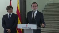 Spanish prime minister Mariano Rajoy says countries must defend their values against the global threat of terror as he spoke to the press in...