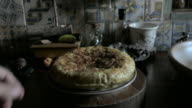 spanish tortilla homemade with windows light in a kitchen