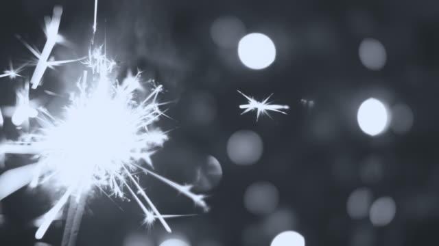 Sparkler at Christmas Black and White