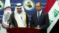 Speaker of the Arab Parliament Mishaal bin Fahm AlSalami holds a joint press conference with his Iraqi counterpart Salim alJabouri after their...