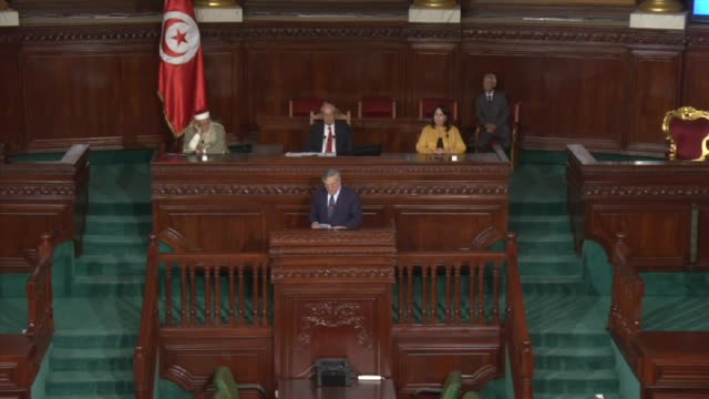 Speaker of the House of People's Representatives Mohamed Ennaceur and European Parliament President Antonio Tajani speak at the Tunisian parliament...