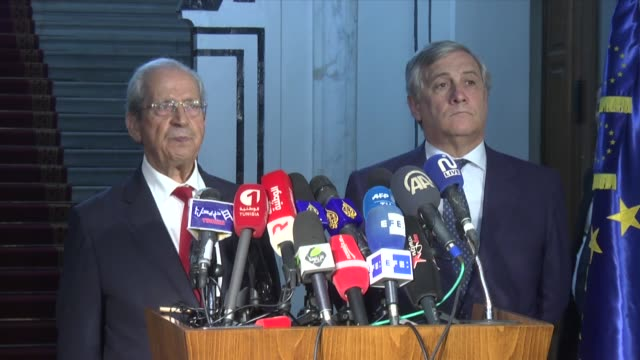 Speaker of the House of People's Representatives Mohamed Ennaceur and European Parliament President Antonio Tajani hold a press conference after...