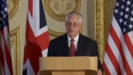 Speaking in London Foreign Secretary Boris Johnson and US Secretary of State Rex Tillerson speak about the hurricane relief effort Myanmar North...