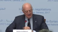 Special Envoy for Syria Staffan de Mistura speaks during a press conference in Geneva Switzerland on February 22 2017 UN Special Envoy for Syria...