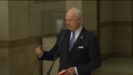 UN special envoy to Syria Staffan de Mistura delivers a speech during a press conference after a session of Syrian peace negotiations held with the...