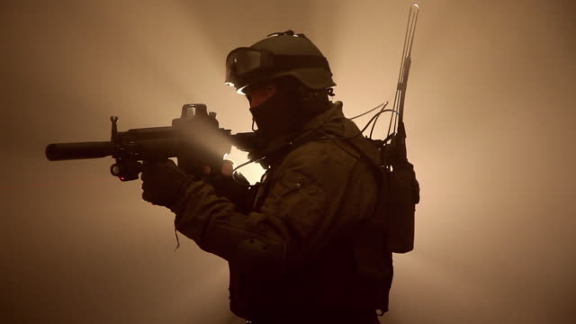 MS, CU, Special Forces Operator in full protection gear with assault rifle, Tampa, Florida, USA