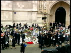 Funeral of Princess Diana 1300 1400 SPECIAL England London 1300 Hearse escort disappearing up M1 motorway Workers clear flowers from road which were...