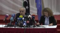 Special Representative of the SecretaryGeneral for Libya Ghassan Salame speaks at a press conference after a meeting with rival Libyan factions in...