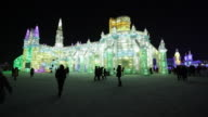 Spectacular illuminated ice sculptures at the Harbin Ice and Snow Festival in Heilongjiang Province, Harbin,  China