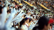 MS Spectator cheering with cheering bang stick balloon in baseball stadium / Seoul, South Korea