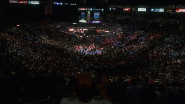 SHAKY, HA, WS spectators cheering on boxing match