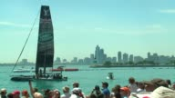 WGN Spectators watch Sailboats in America's Cup World Series from Chicago's Navy Pieron June 11 2016