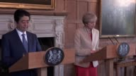 Speech by Theresa May and Japanese Prime Minister Shinzo Abe as May welcomes him to Chequers and expresses the importance of keeping close to her...