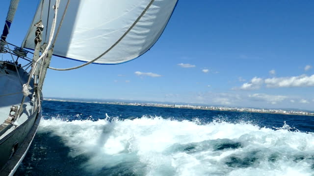 Speed sailing yacht racing (slow motion)