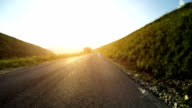 Speedy Car Onboard Camera on Straight Road