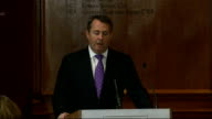 Liam Fox speech on 'The Need for Defence Reform' ENGLAND London The Royal Institute of Chartered Surveyors INT Dr Liam Fox speech SOT For many of us...