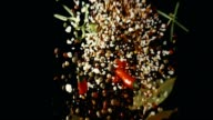 Spice Mix Food Explosion with Chili and Peppercorns