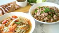 spicy papaya salad (Traditional Thai food)