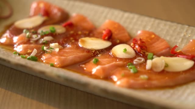 spicy sliced salmon