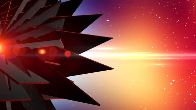 Spinning-Abstrakte 3D Form In leeren Raum mit Partikel