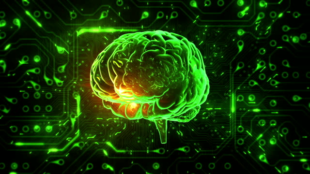 Spinning brain with circuit board background. Loopable. Green-Blue.