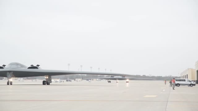 B2 Spirit Stealth Bombers taxiing These aircraft are assigned to the 509th Bomb Wing Whiteman Air Force Base Missouri