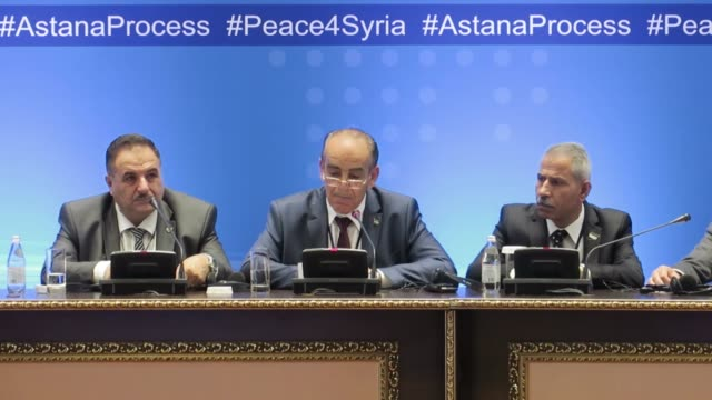 Spokesman of Syria's armed opposition Yahya AlAridi speaks to the media after the seventh round of Astana talks on Syria in Astana Kazakhstan on...
