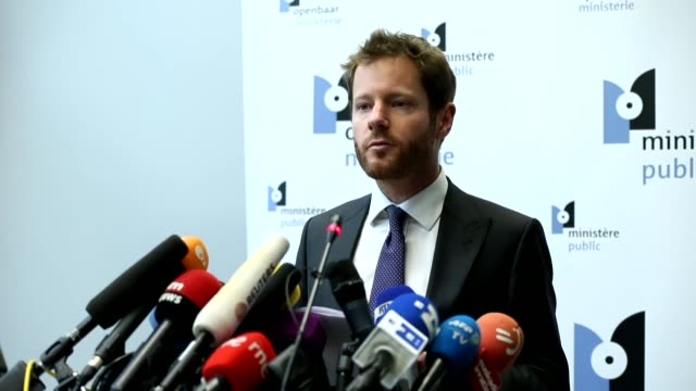 Spokesman of the Brussels Prosecutor's office Gilles Dejemeppe speaks during a press conference at the public prosecutor's office in Brussels Belgium...