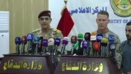 Spokesperson for Joint Operations Command General Yahya Rasool and Combined Joint Task Force's Spokesman Colonel Ryan Dillon give briefing during a...