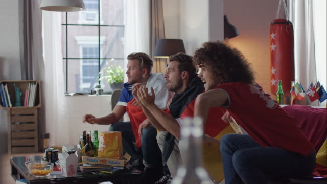 Sport fans sitting on couch watching tv and cheering
