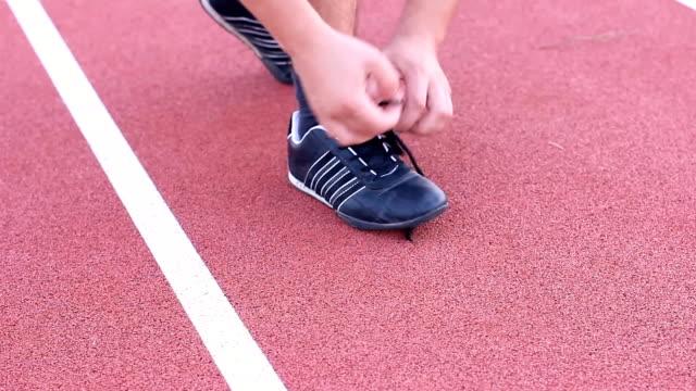 Sport shoe lacing.