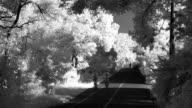 Sports track in the morning - infrared time lapse
