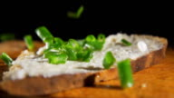 HD SLOW MOTION: Spread With Spring Onion
