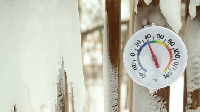 Spring Icicles Schmelzen um Outdoor-Thermometer