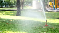 Sprinklers water the grass