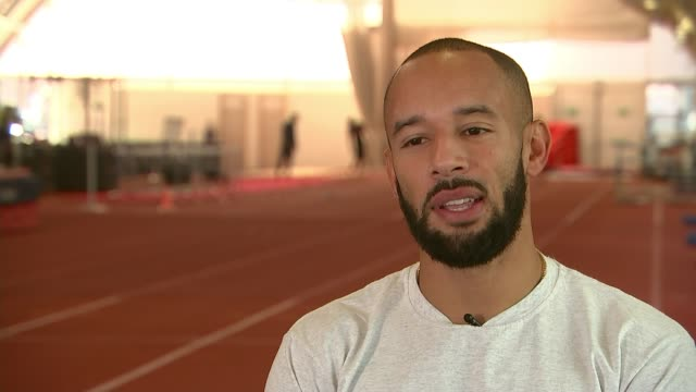 Sprinter James Ellington's future in doubt 'because of a cut in his funding' INT James Ellington stretching James Ellington interview SOT Various...
