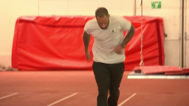 Sprinter James Ellington's future in doubt 'because of a cut in his funding' ENGLAND INT Various shots of James Ellington training on indoor running...