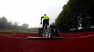 Sprinter runs off the starting block