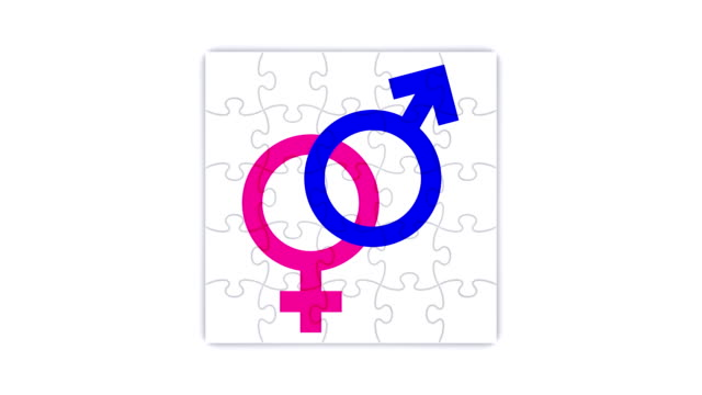 Square puzzle with gender union symbols (3 versions)