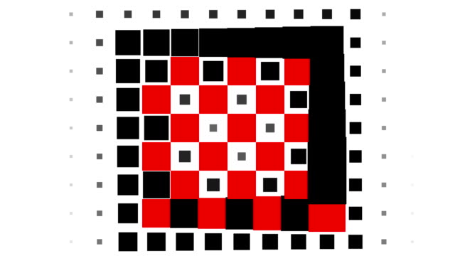 CHESSBOARD PATTERN : squares, spiral progress, finally disappear (TRANSITION)