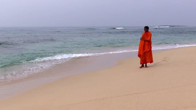 Sri Lanka beach novice Buddhist monk