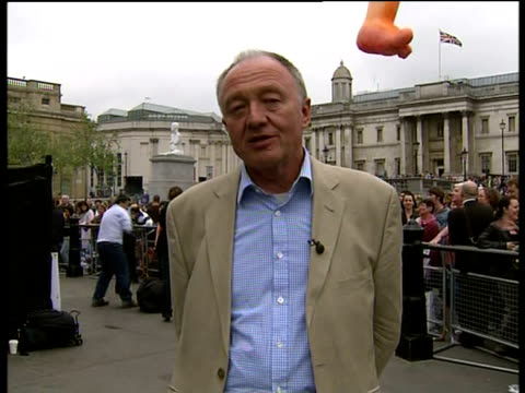 St George's Day Smallscale celebrations for English patron saint ENGLAND London GIR INT Ken Livingstone LIVE 2WAY interview from Trafalgar Square SOT...