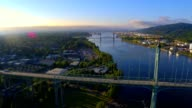 St Johns Bridge, Portland, Oregon in early morning sun
